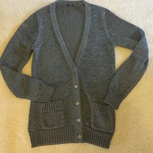 Soft metallic gray cardigan JCREW