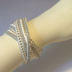 Jewelry - Double Wrap Bracelet Faux White Leather