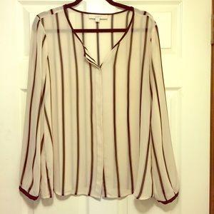 LOFT Tops - Loft Sheer Striped long sleeve blouse