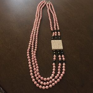Pink and Black Beaded Offset Necklace
