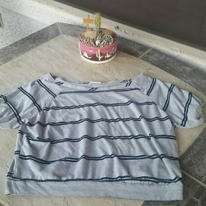 ALLOY Tops - White Shoulder Gray & Blue Top