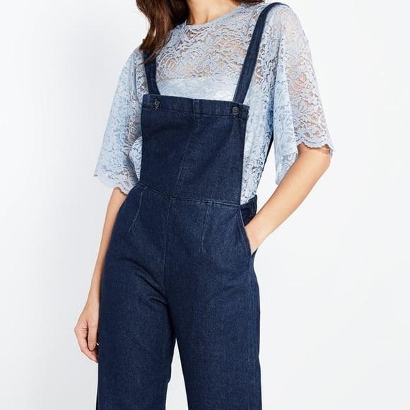 6044fc4c735 Pomelo Fashion Margaret Pinafore Denim Jumpsuit. M 57e988635c12f8a364007bc5