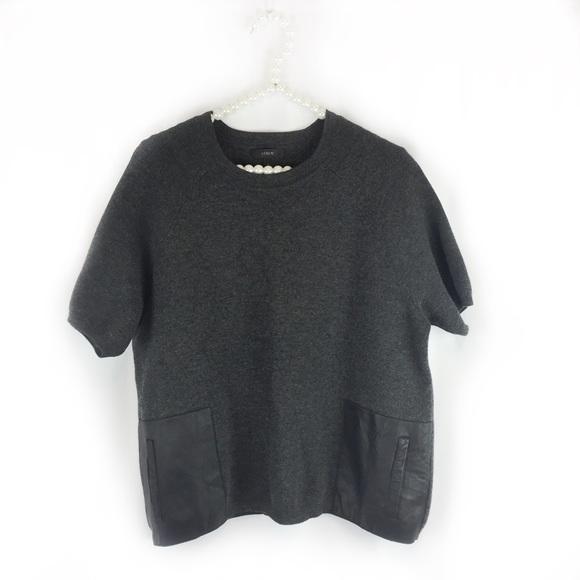 J Crew Merino Sweater With Leather Pockets Full Zip Sweater