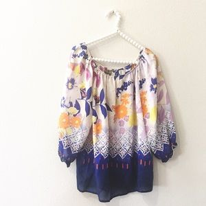 Anthropologie Fei Floral Silk Top