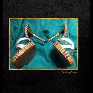 Casadei Shoes - EUC 💕 CASADEI White/Silver Multi-stripes Heels💕