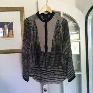 Aryn K Printed Silk Blouse, size M