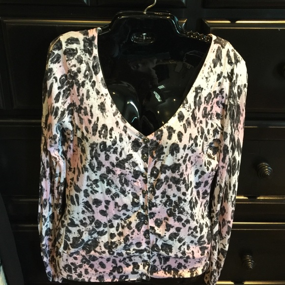 88% off Guess Sweaters - Guess Pink Leopard Cardigan from Mindy's ...