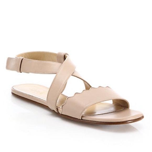 Chloe Scalloped Crisscross Leather Flat