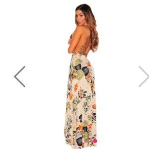ee8121039f9b Lulu s Dresses - Floral maxi romper asymmetrical dress lulu s Bebe