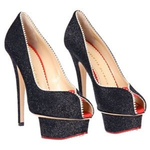 """Charlotte Olympia Shoes - Charlotte Olympia """"Daphne"""" black and red peep toes"""