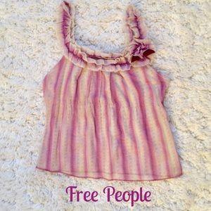 Free People Ruffle Stripe Purple Pink Flower Top 4