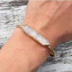 ✨SALE Druzy Quartz Crystal Bracelet Cuff Gold
