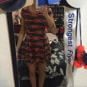 Tribal Pattern Skater Dress Size M
