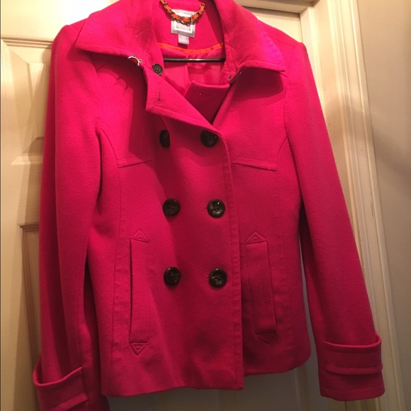 58% off jcpenney Jackets & Blazers - Hot pink wool pea coat from ...