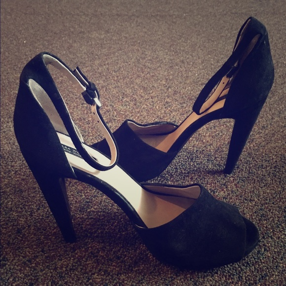 926dd8656c Zara Shoes | Black Suede Peep Toe Heel | Poshmark