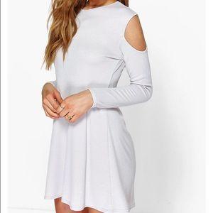 NWT Boohoo open shoulder knit swing dress
