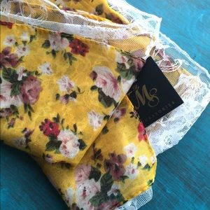 Accessories - Yellow Floral & Lace Infinity Scarf