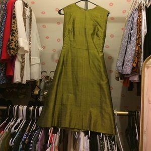 Vintage Raw Silk Green Dress