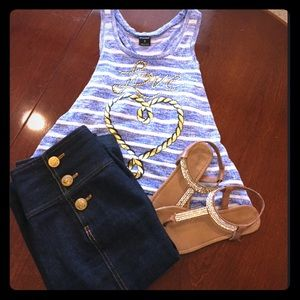 "Stranded Tops - Blue and white striped nautical ""love"" hi-low top"