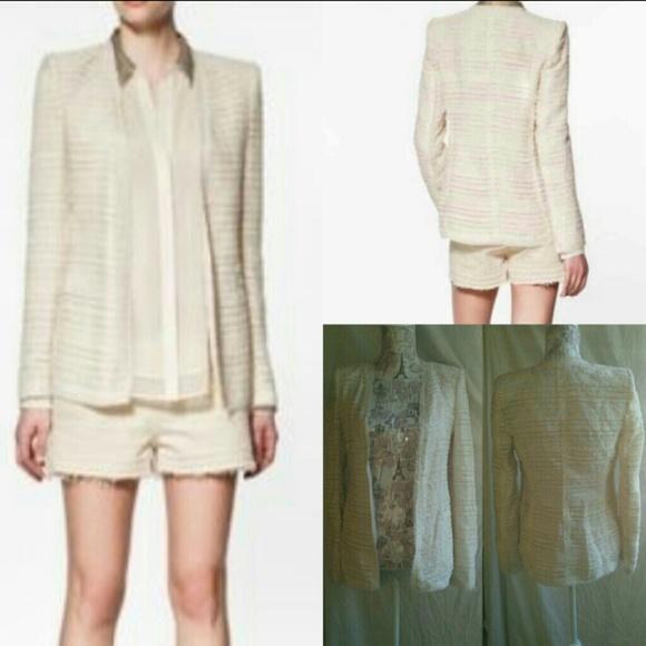 6aca03b9 Zara Jackets & Coats | Woman Ivory Open Long Tweed Blazer | Poshmark