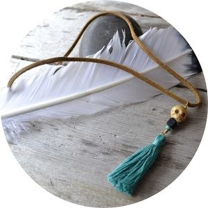 rare bits jewelry Jewelry - Teal Tassel Necklace with Coconut Wood Skull