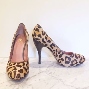 Vince Camuto Leopard Calf Hair Heels