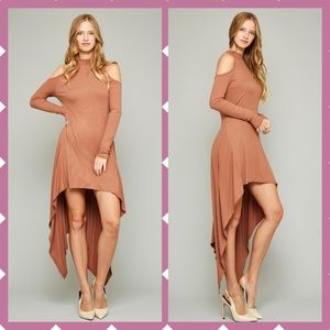 SALE Long sleeve cold shoulder hi-low dress