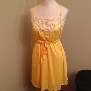 Yellow crochet detail sundress by Tulle XS