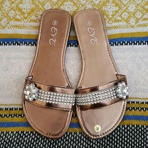 Eve Shoes - Eve bronze slipper slides. Size 8