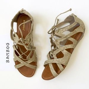 Bamboo Shoes - BAMBOO Python Gladiator Low Wedge Lace-up Sandal❤️