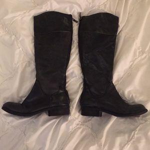 BCBG black leather boots, size 5.5