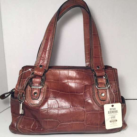 ff3356151448 FOSSIL Crocodile Embossed Leather Satchel