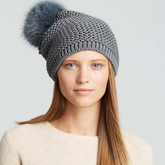 63a30432425 Accessories - Kyi Kyi Fox Fur Pom Pom Slouchy Hat