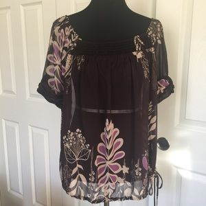 Gibson Tops - NORDSTROM Sheer Floral Blouse