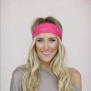 Three Bird Nest Pink Wide Lace Headband