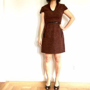 Kensie Leather Trim Tweed Dress