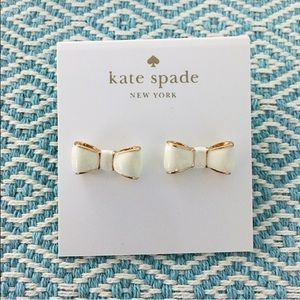 kate spade Jewelry - kate spade white gold bow earrings studs