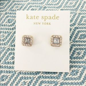 kate spade Jewelry - kate spade Crystal glam square earrings stud gold