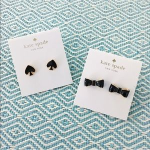 kate spade Jewelry - kate spade ♠️ black earrings bow studs gold