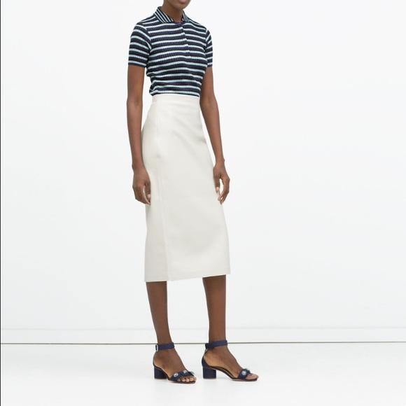 1e6d64d632 Zara Skirts | Faux Leather Pencil Midi Skirt | Poshmark