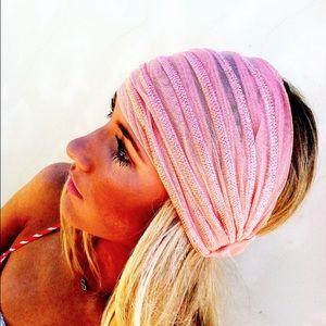 Three Bird Nest Pink Stretchy Wide Mesh Headband