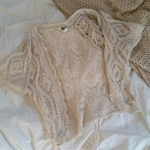 Beige Crocheted Shrug
