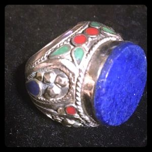 Jewelry - Tribal handmade ring with lapis, turquoise,  coral