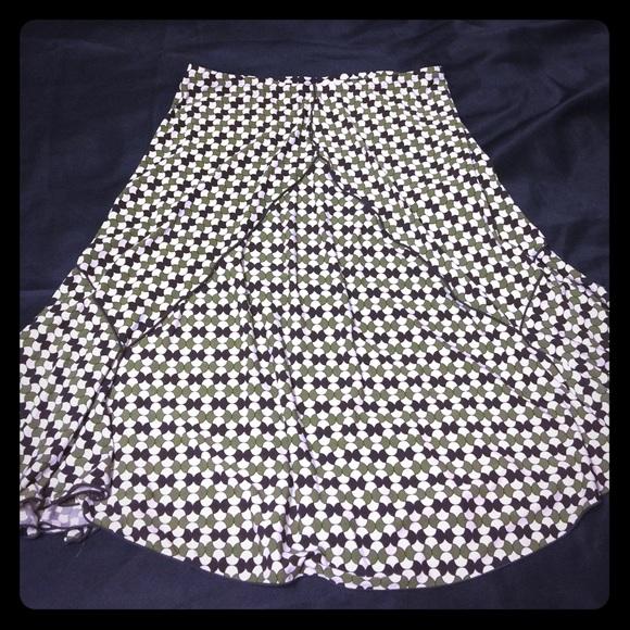 MAX STUDIO Green, Brown & Cream Skirt [SK-23]