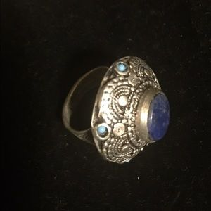 Jewelry - Large german silver ring with lapis and turquoise