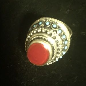 Jewelry - Coral ring in german silver