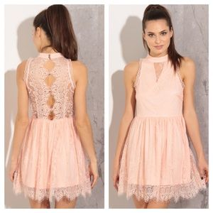 •SALE• Blush Pink Eyelash Lace Dress 