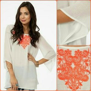 Peach Love California Tops - Peach Love embroidered tunic top