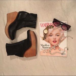 Jeffrey Campbell Brisbane black wood heel 8 ✨✨