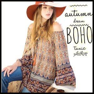 Boutique Tops - Off-the-Shoulder Boho Top